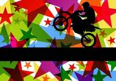 All terrain sport motorbike rider illustration colorful star line background vector