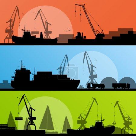 Industrial harbor, ships, transportation and crane seashore vect