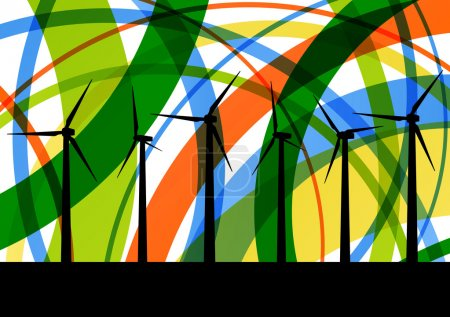 Colorful wind electricity generators abstract lines ecology silh