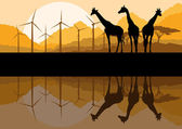 Wind electricity generators windmills and giraffes in desert mo