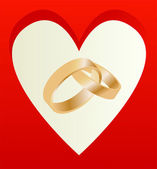 Gold wedding rings with heart shaped card vector background