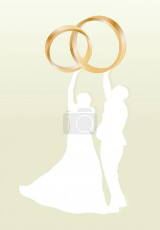 Illustration for Wedding card with man and women and gold wedding rings in vector background illustration - Royalty Free Image