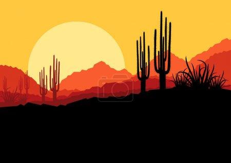 paysage nature sauvage désertique avec cactus et palmier plantes il