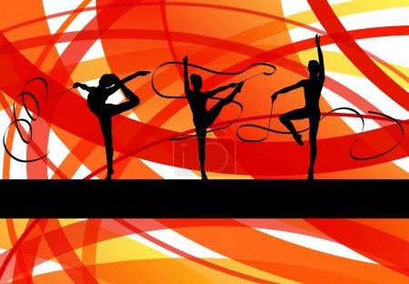Illustration pour Les jeunes femmes faisant de la gymnastique artistique calisthénique astuces sportives avec ruban en arrière-plan abstrait illustration vecteur - image libre de droit