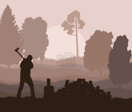 Illustration pour Bûcheron avec hache fond vectoriel dans la nature pour affiche - image libre de droit