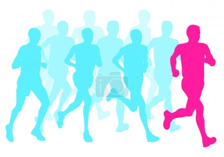 Men marathon winner finish vector background and g...