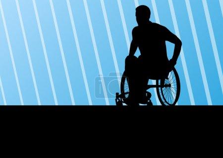 Illustration pour Homme handicapé actif sur un fauteuil roulant détail sport concept silhouette illustration arrière-plan vecteur - image libre de droit
