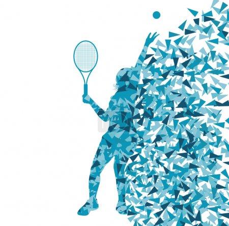 Illustration pour Joueurs de tennis silhouettes vectorielles concept de fond fait de fragments pour affiche - image libre de droit