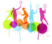 Tennis players silhouettes vector background concept with ink sp