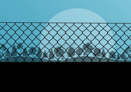 Wired fence and forest vector abstract background concept