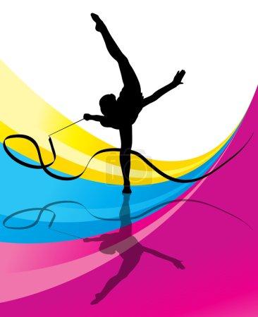 Illustration pour Gymnastique adolescente avec ruban vecteur fond abstrait pour affiche - image libre de droit