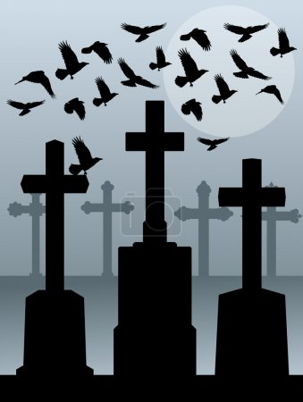 Halloween spooky graveyard, cemetery vintage background with gra