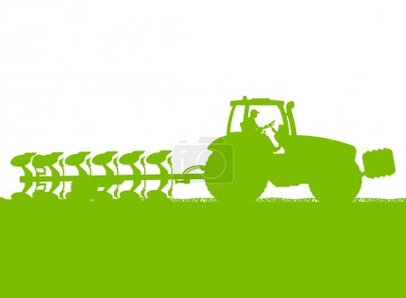 Illustration for Agriculture tractor plowing the land in cultivated country grain field landscape background illustration vector - Royalty Free Image