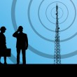 Telecommunications radio tower or mobile phone bas...