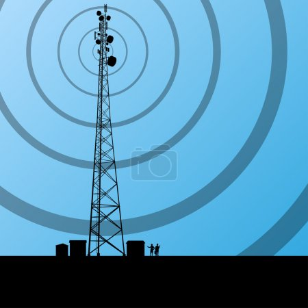 Illustration for Telecommunications radio tower or mobile phone base station concept background vector - Royalty Free Image