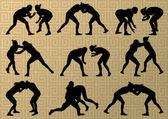 Görög-római birkózó sport aktív fiatal nők sziluettek vecto