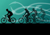 Active men cyclists bicycle riders in abstract arrow line landsc