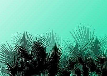 Palm tree silhouettes wild nature landscape background illustrat
