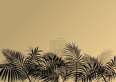 Illustration for Exotic jungle forest plants, leafs and grass detailed silhouette landscape illustration background vector for poster - Royalty Free Image