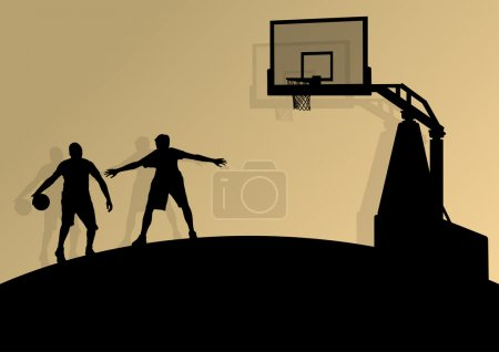 Basketball players young active sport silhouettes vector backgro