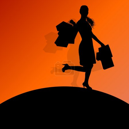 Active woman with shopping bags silhouette vector background abs
