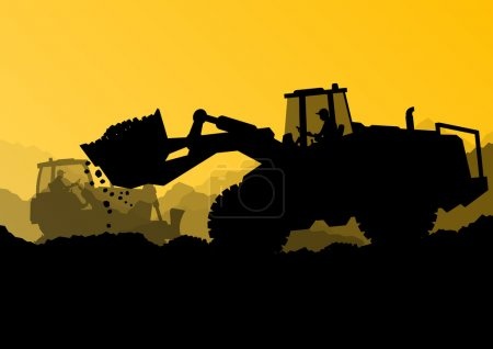 Excavator bulldozer loaders, tractors and workers digging at ind