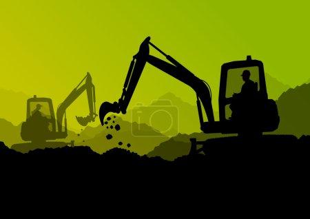 Illustration pour Pelle bulldozer chargeuses, tracteurs et travailleurs creusant sur le chantier de construction industrielle illustration vectorielle de fond - image libre de droit