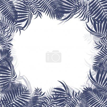 Illustration pour Jungle tropicale forêt tropicale arrière-plan vectoriel cadre blanc concept modèle avec espace de copie centre - image libre de droit