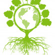 Tree world globe ecology vector background concept...