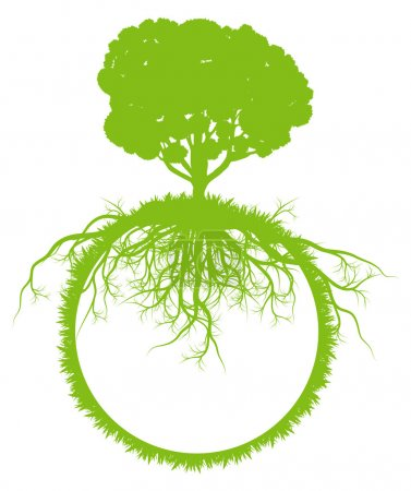 Illustration for Tree world globe ecology vector background concept with roots for poster - Royalty Free Image