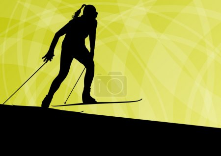 Active young woman girl skiing sport silhouette in winter ice an