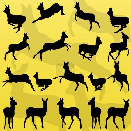 Cerf de Virginie cerf de forêt sauvage animaux silhouettes illustration co
