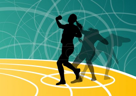 Illustration for Active shot putter woman sport athletics ball throwing silhouettes abstract illustration background vector - Royalty Free Image