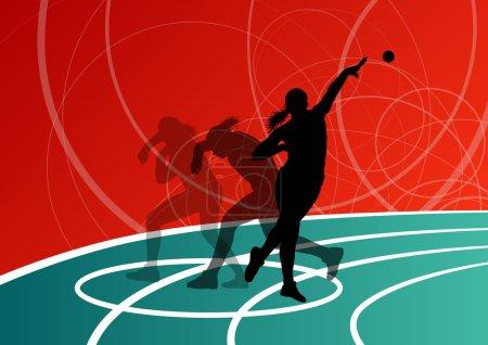 Active shot putter woman sport athletics ball throwing silhouett