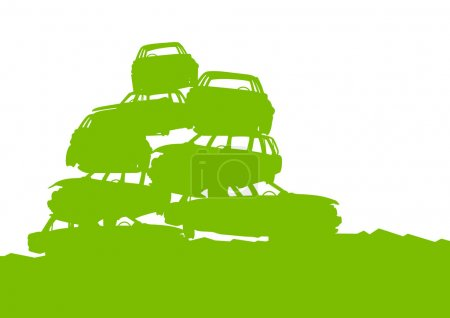 Junkyard, waste, dump green ecology background concept waste man