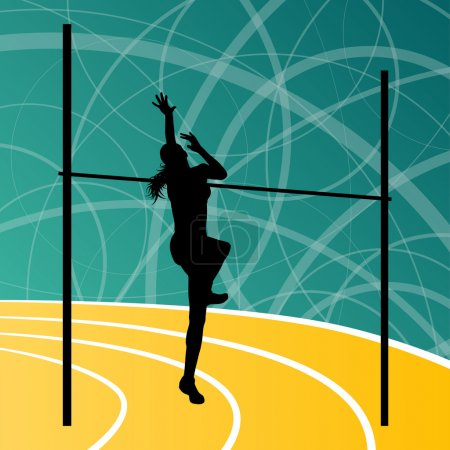 Illustration for High jump athletics active woman girl sport silhouette concept illustration background vector - Royalty Free Image