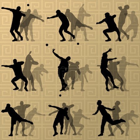 Illustration for Male sport athletics. ball throwing silhouettes collection. abstract illustration, background vector - Royalty Free Image