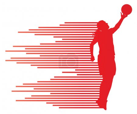 Woman basketball player vector background concept made of colorf