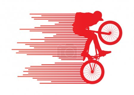 Extreme cyclists bicycle rider active teenager sport silhouettes