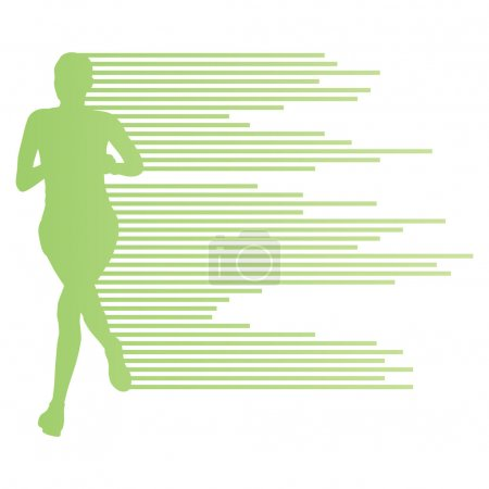 Photo pour Femme coureur silhouette vecteur arrière-plan concept de modèle fait de rayures pour affiche - image libre de droit