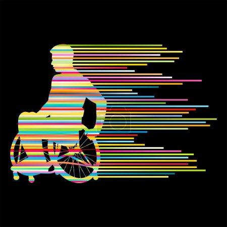 Illustration pour Homme en fauteuil roulant personnes handicapées concept fait de rayures fond vectoriel pour affiche - image libre de droit