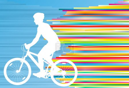Cyclist vector background concept template made of stripes