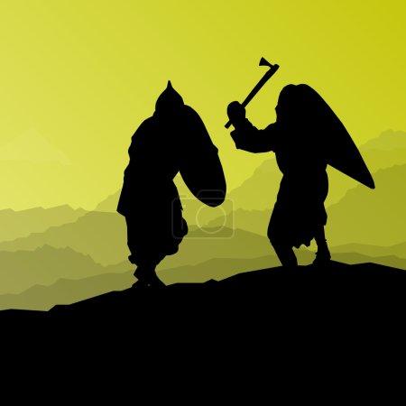 Illustration for Medieval warrior, crusader vector background landscape concept - Royalty Free Image