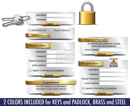 Login Password Registration web elements