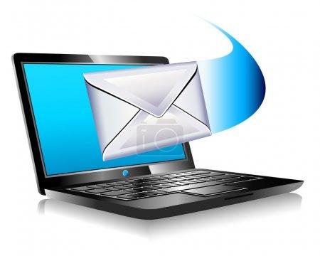 Illustration pour Email envoyé et arrivant à partir d'un ordinateur portable - Messagerie SMS, Mailing the world internet connection - image libre de droit