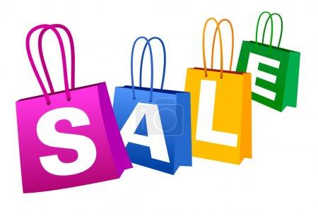 Illustration pour Concept Bannière de vente avec sacs à provisions - image libre de droit