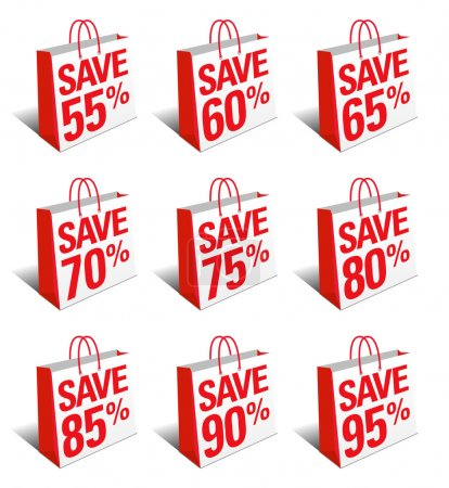 Save Shopping Bag Icon Percentage Discount, Reduced Price Symbol