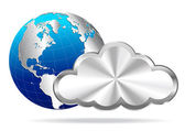 Earth Globe with Silver Cloud- Cloud Computing
