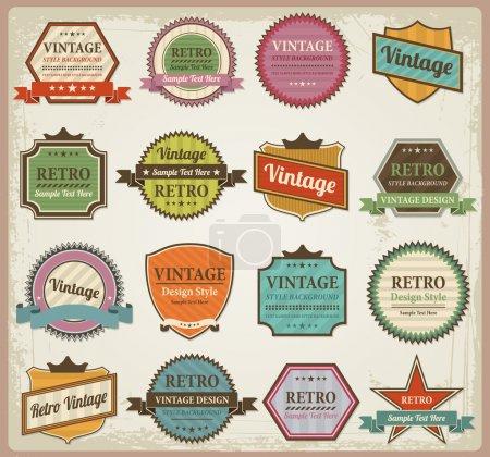 Photo pour Étiquettes vintage et ruban rétro style design collection d'éléments de conception - image libre de droit