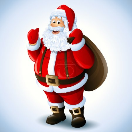 Photo for Cartoon Santa Claus smiling red christmas background - Royalty Free Image